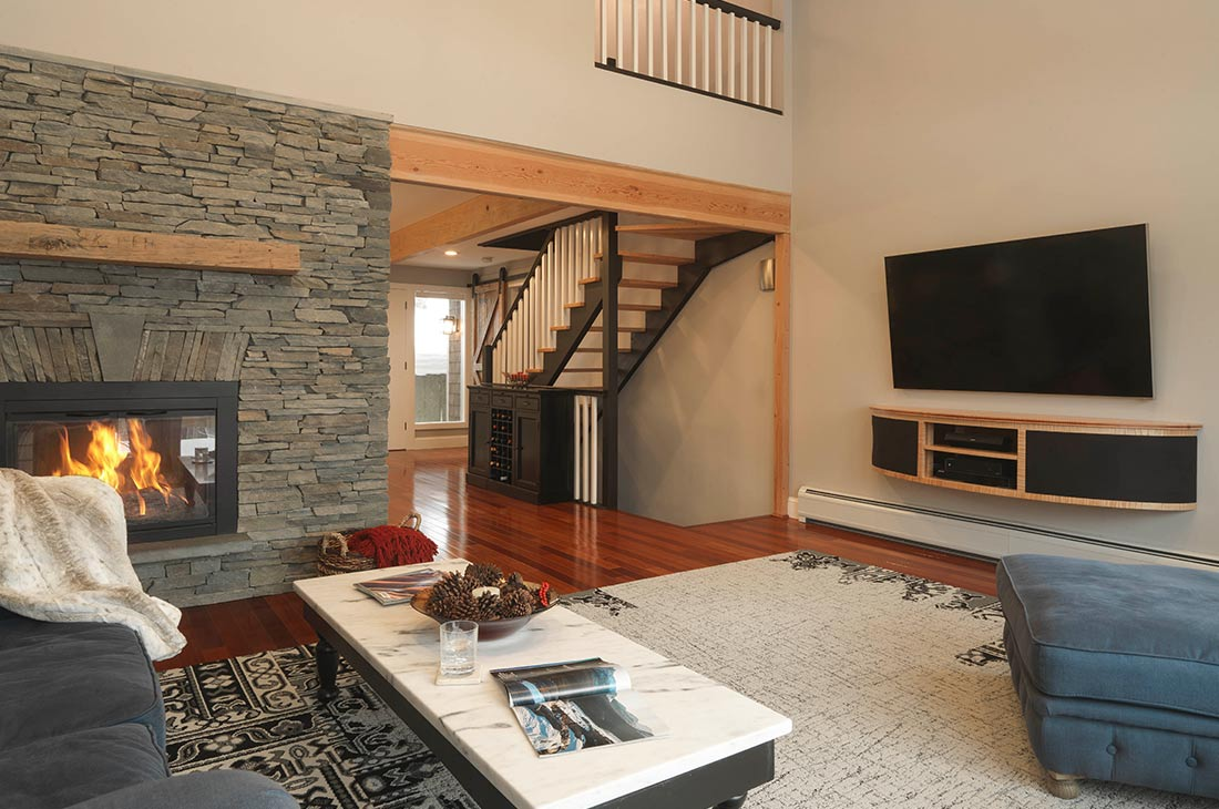 open living area that looks to the loft and second floor