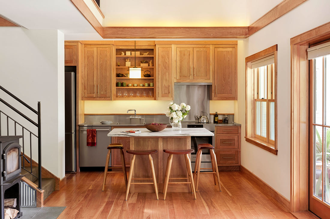 picture of the interior kitchen with wooden cabinets