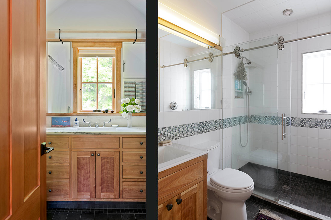 picture of two bathrooms and full glass shower