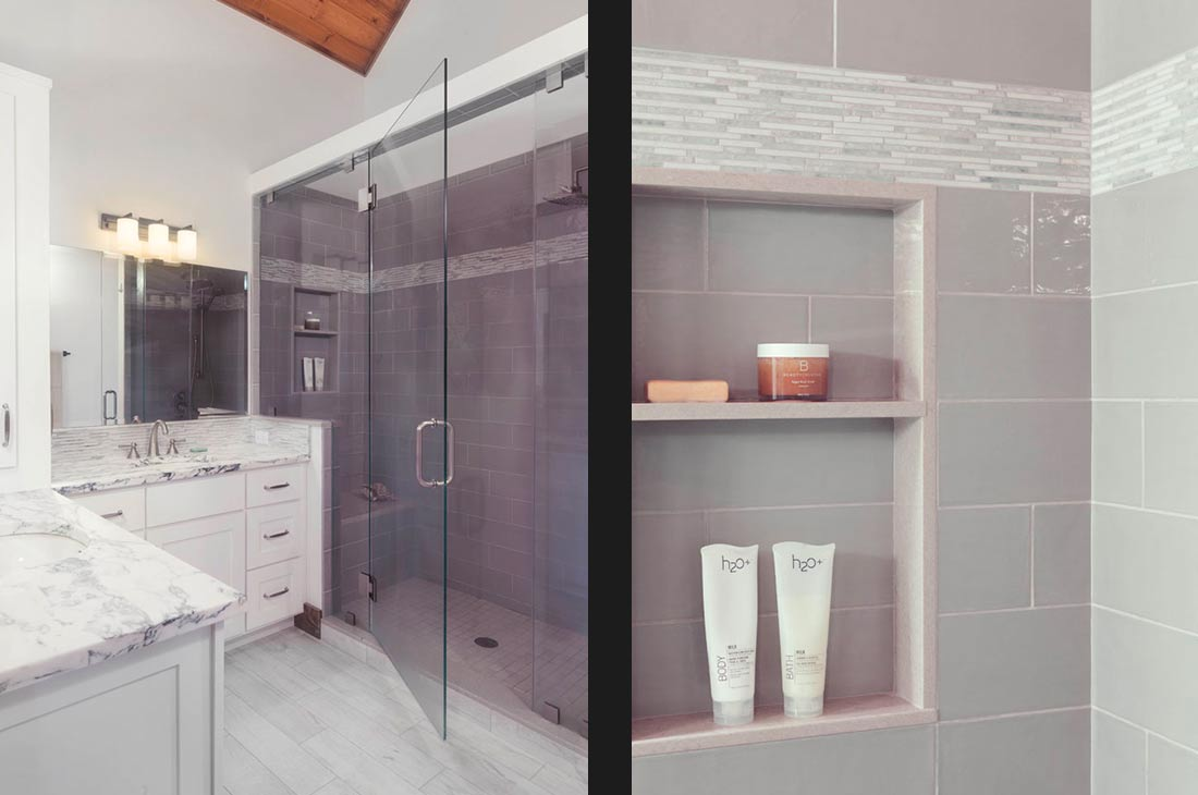 master bedroom with large glass shower