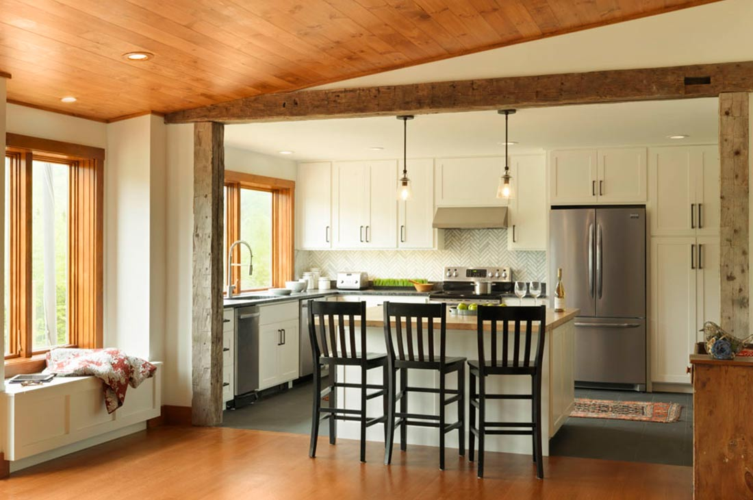 kitchen area with wooden ceiling