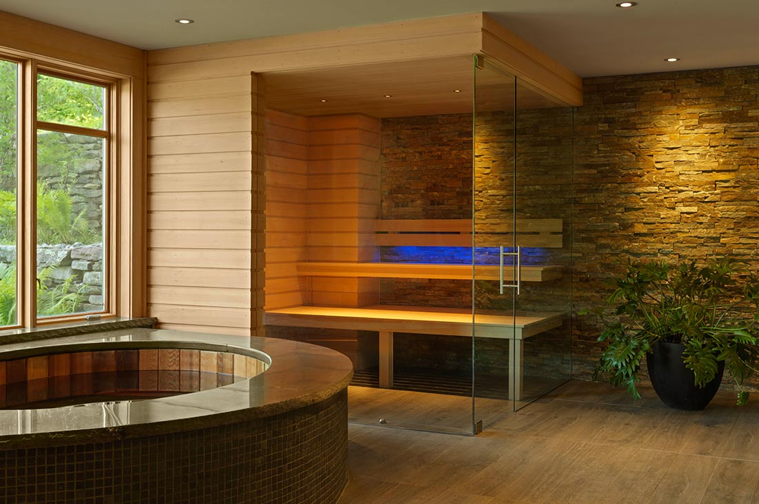 sauna with glass doors