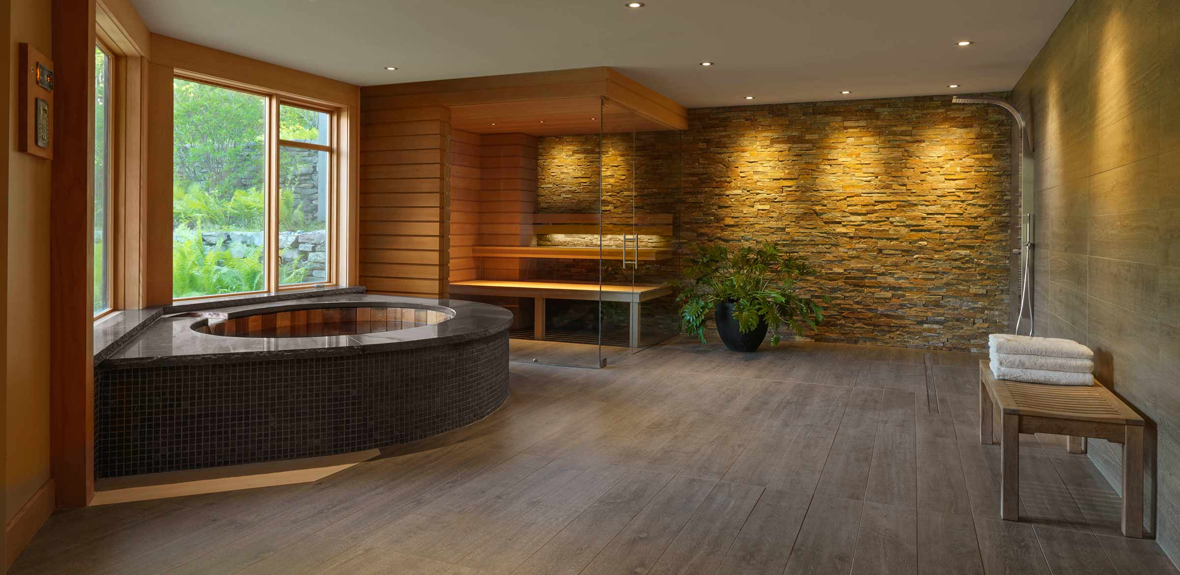 large spa with bathroom and sauna