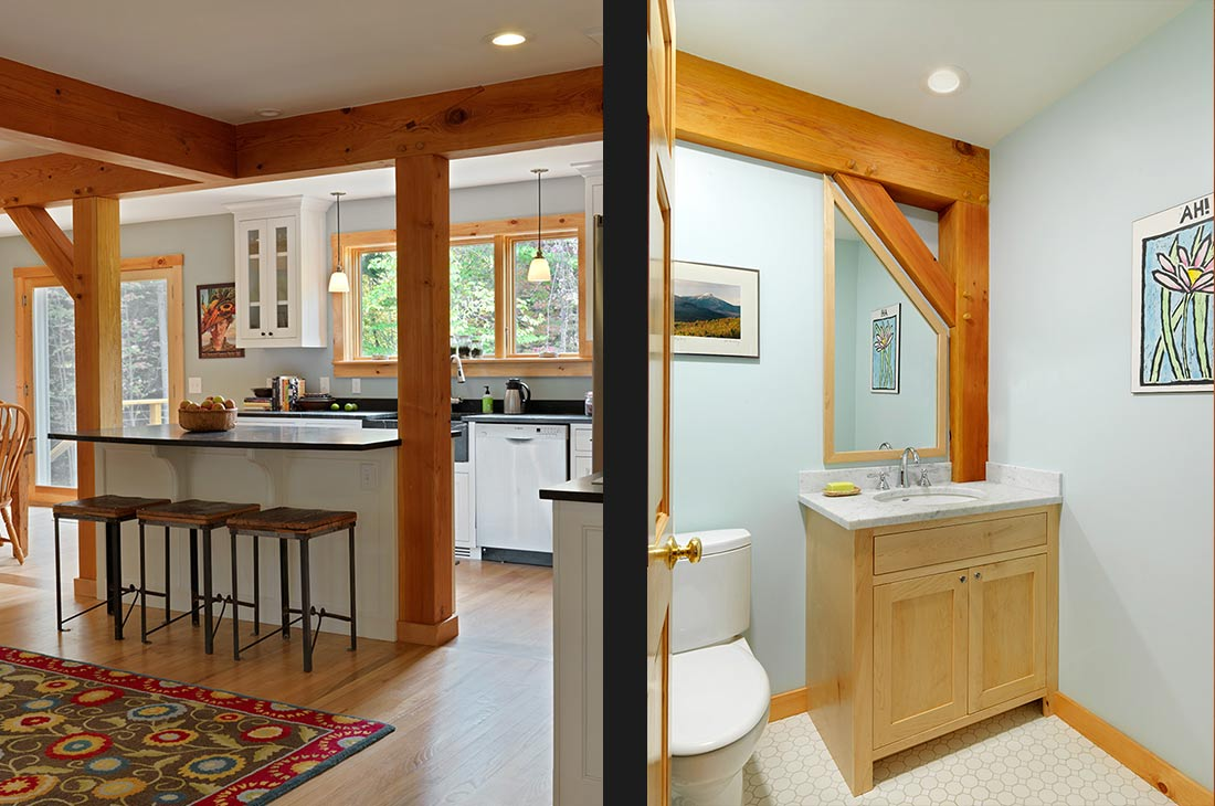 small bathroom and eat in kitchen island