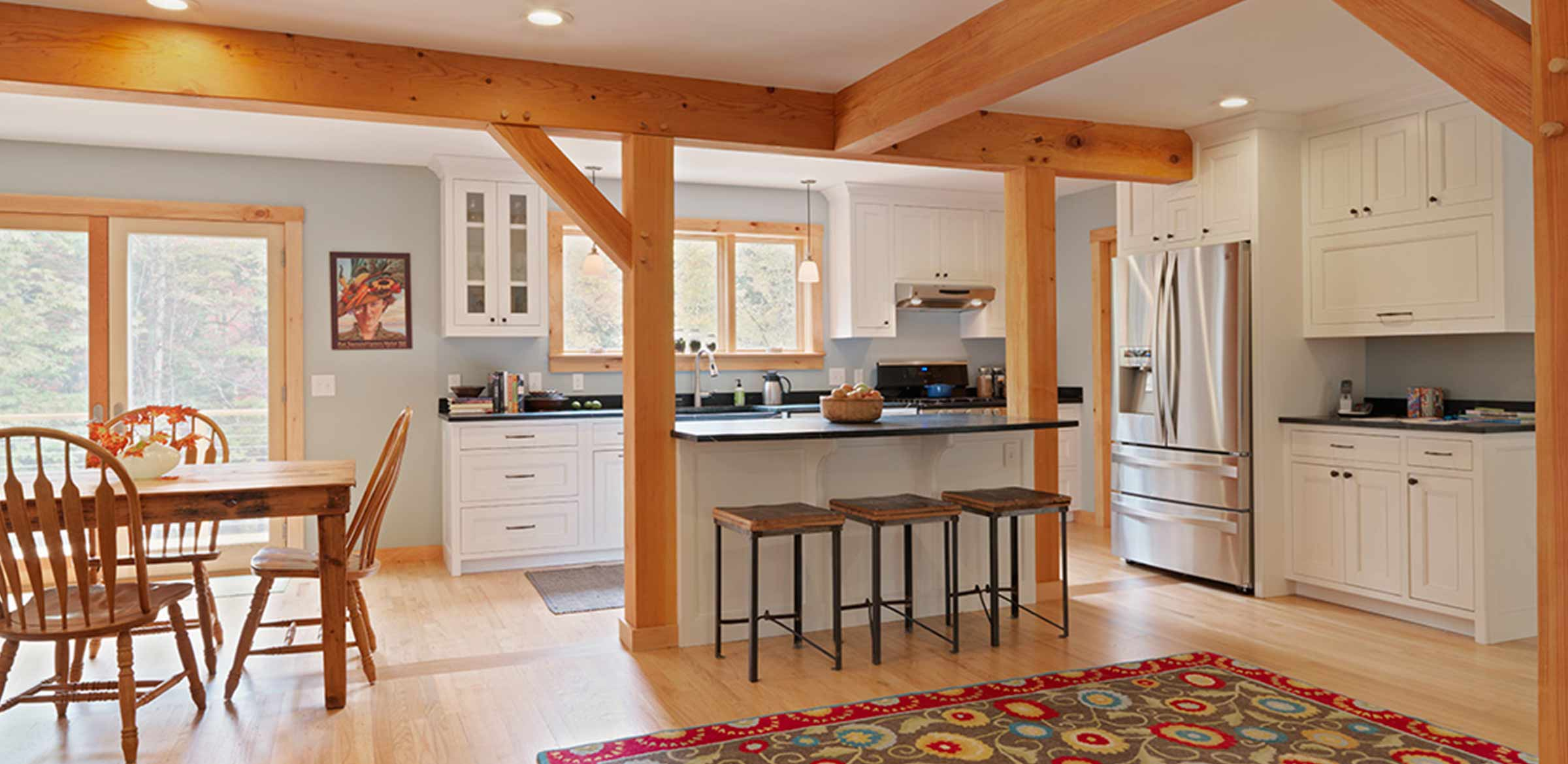 timber frame open kitchen